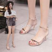 高跟鞋 透明涼鞋女學生夏新款百搭韓版高跟鞋性感一字扣貓跟鞋細跟潮 卡菲婭