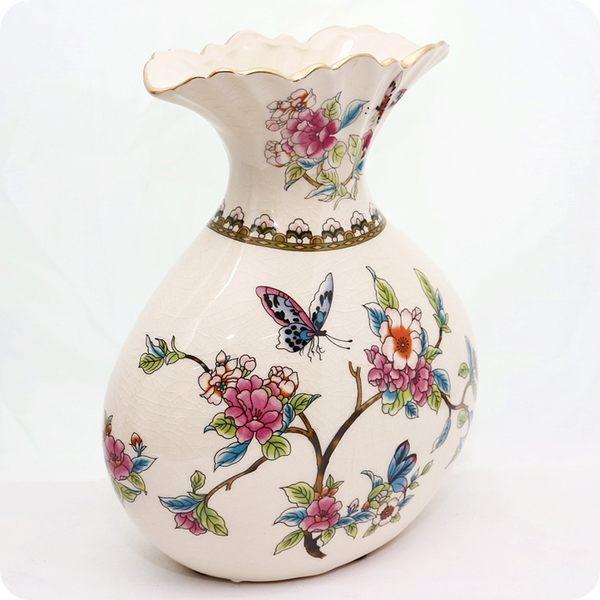 歐風經典陶瓷冰裂紋復古奢華花器/花瓶/裝飾/擺飾【雅典娜家飾】