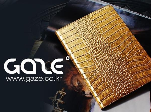 【愛瘋潮】韓國 Gold Croco Apple iPad Air 金漆鱷紋手工真皮保護套