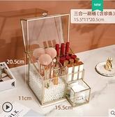 輕奢化妝刷收納桶防塵桌面帶蓋置物筒眉筆眼線口紅盒子大容量玻璃 美眉新品