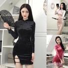 暗黑少女復古盤扣絲絨下擺開叉改良旗袍包臀洋裝潮 韓語空間