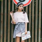 洋裝 夏季學院風學生刺繡中長款T恤格子不規則半身裙兩件套裝女
