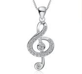 純銀項飾 時尚音樂音符純銀吊墜 水晶 鎖骨鏈【五巷六號】s333
