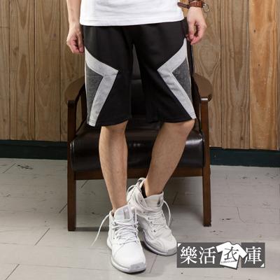 【P9078】拼布幾何時尚混色鬆緊休閒短褲(共二色)● 樂活衣庫