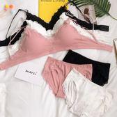 韓版蕾絲邊親膚少女文胸短款女士胸罩學生上衣內衣內褲兩件套套裝 芥末原創