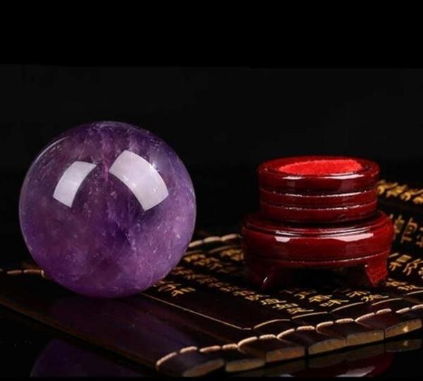 3cm開光天然紫水晶球擺件招財鎮宅旺事業風水轉運水晶洞紫氣東來擺設 向日葵