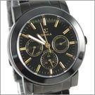 【萬年鐘錶】SIGMA 全黑金字三眼時尚腕錶 8807M-BG