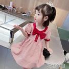 女童格子連衣裙2021夏裝新款小孩法式復古裙子韓版兒童洋氣公主裙快速出貨