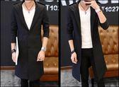 男士風衣中長款韓版修身2018新款披風外套秋冬裝加厚帥氣潮牌大衣  初見居家