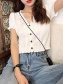 v領微胖顯瘦大碼上衣女裝針織衫設計感短袖【小酒窩服飾】