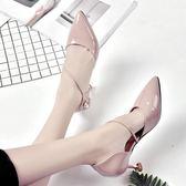 細跟涼鞋公主包頭女韓版新款細跟高跟尖頭貓跟溫柔風羅馬仙女鞋 mc8295『東京衣社』