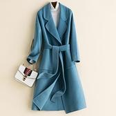 毛呢大衣-羊毛時尚優雅純色綁帶女外套10色73op5[巴黎精品]