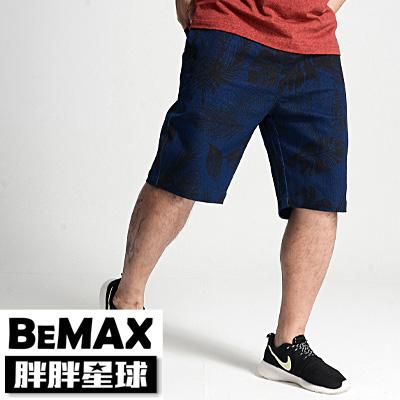 【胖胖星球】中大尺碼‧滿版叢林印花牛仔短褲 2XL~5XL‧加大/休閒【87011】