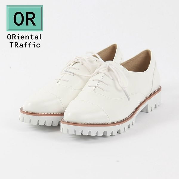 【ORiental TRaffic】知性學院風厚底綁帶鞋 清新白