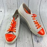 BRAND楓月 PRADA 白色 皮革 螢光橘鞋帶 金屬LOGO 板鞋 平底鞋 休閒鞋 男版 #40