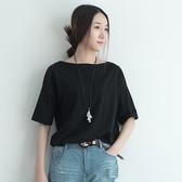 短袖T恤-棉質圓領純色素面衣襬捏褶女上衣3色73nl6【巴黎精品】