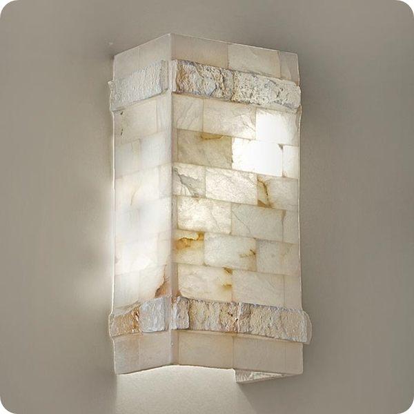 天然雪花石壁燈─高31寬16深10cm─E27 X 2【雅典娜家飾】AEL182米白