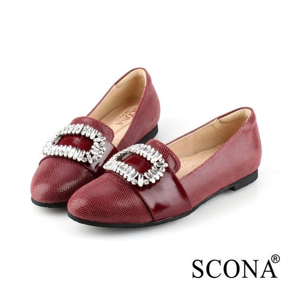 真皮時尚華麗鑽飾樂福鞋