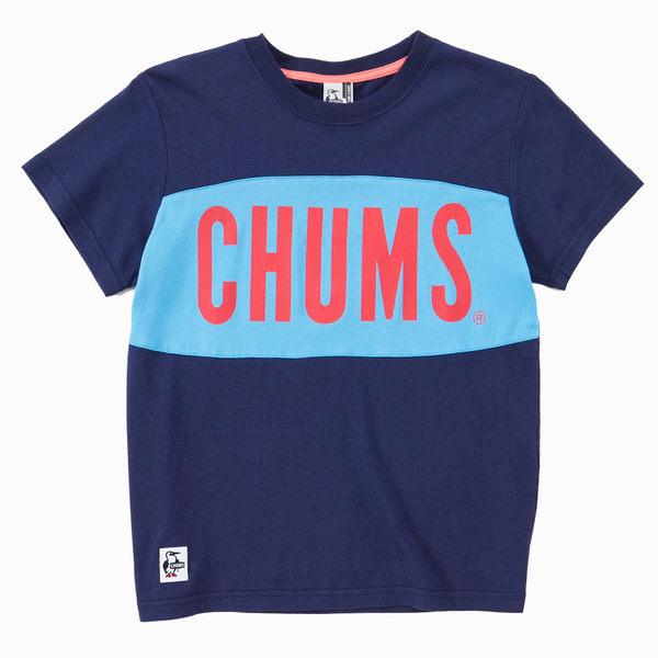 CHUMS 日本 女 大LOGO 短袖T恤 深藍 CH111101N001