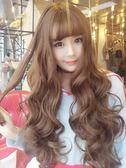 限定款假髮 韓系假髮女長捲髮空氣瀏海玉米燙長髮蓬鬆自然大波浪韓系可愛髮套