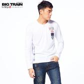 BIG TRAIN 軍事街頭半開襟長袖T恤上衣-男-白-Z20185