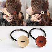 韓國 飾品 髮繩 木質 髮圈 時尚 復古 鈕扣 紮頭髮 橡皮筋 頭繩 頭飾 髮飾 頭花