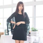 洋裝--典雅氣質挖肩罩衫流蘇涼感雪紡假兩件式連身裙(白.黑L-3L)-D463眼圈熊中大尺碼