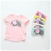 韓版女童休閑卡通小象圓領短袖T恤衫