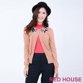 RED HOUSE-蕾赫斯-毛線鉤花針織外套(粉橘色)