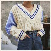✦Styleon✦正韓。學院風麻花針織背心拼接條紋襯衫長袖上衣。韓國連線。韓國空運。1017。