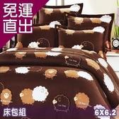名流寢飾 100%精梳棉雙人加大床包組-快樂綿羊【免運直出】
