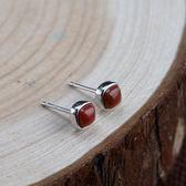 925純銀耳環-方型南紅瑪瑙簡約情人節生日禮物女飾品73uv2【時尚巴黎】