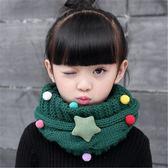 保暖兒童圍巾秋冬季韓版男童女童針織毛線脖套寶寶滿天星卡通圍脖