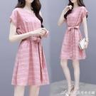 輕熟洋裝套裝時尚連身裙女夏季新款氣質收腰寬鬆小個子顯瘦繫帶中長款 快速出貨