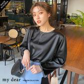 MD韓【01200013】素色緞面上衣-2色