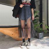 網紗拼接毛邊牛仔半身裙女夏季新品韓版復古百搭高腰顯瘦包臀短裙 限時八五折