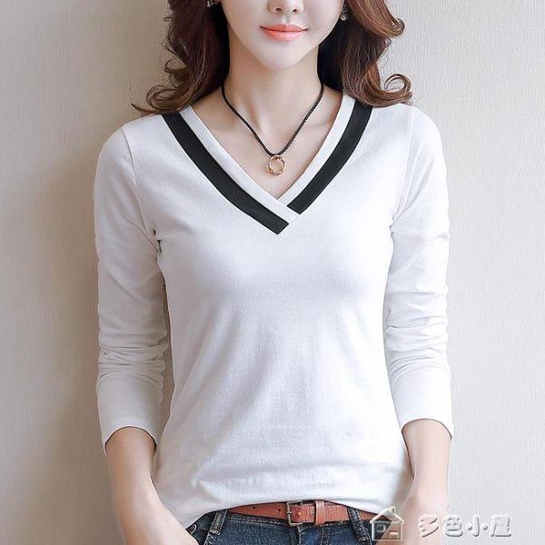 長袖T恤 女正韓V領純色長袖t恤女白色體恤打底衫女長袖女上衣 多色小屋