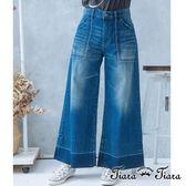 【Tiara Tiara】漢神秋冬 復古風刷白x刷紋寬喇叭牛仔褲(深藍/淺藍)