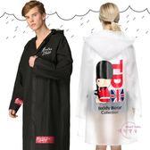 磨砂透明長版男女雨衣時尚帶袖成人徒步加厚女式雨披
