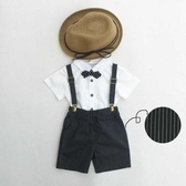 兒童花童禮服男寶寶周歲套裝夏走秀演出生日背帶短褲白襯衫三件套
