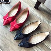 六月芬蘭尖頭車線絨布V口復古素色蝴蝶結娃娃鞋平底鞋包鞋女鞋黑色紅色(35-41大尺碼)現貨