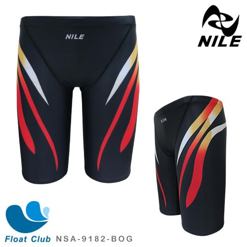 【NILE】男款線條運動休閒馬褲型泳褲(黑橘) NSA-9182-BOG
