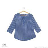 【INI】美感品味、直條圖騰舒適上衣.藍色
