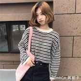 秋裝女裝韓版寬鬆條紋開叉套頭針織衫中長款長袖慵懶毛衣上衣外套 莫妮卡小屋