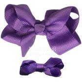 Cutie Bella 手工蝴蝶結髮夾 羅紋緞帶 全包布 中小款二入套組-Violet