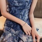 手鍊 夢幻彩石閃鑚星月手鍊chic原宿少女超仙手鐲男女情侶簡約手環