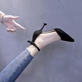 尖头鞋法式少女高跟鞋女細跟尖頭單鞋2019秋款黑色一字扣百搭網紅貓跟鞋 非凡小铺