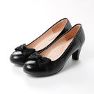 GREEN PINE  蝴蝶結素色粗跟高跟鞋-黑色