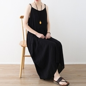 洋裝-長款寬版不規則裙襬細肩帶純色女連身裙73sm58[巴黎精品]