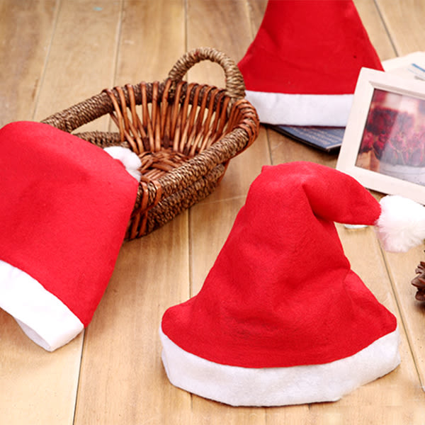 【BlueCat】聖誕老公公紅白三角毛球不織布聖誕帽 (大人款 & 小孩款)